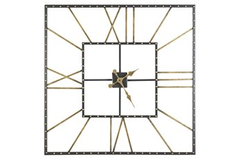 Square Black + Gold Wall Clock