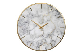 Round Gray + Faux Marble Wall Clock