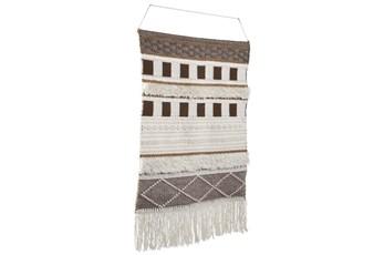 Brown + Natural Tasseled Wall Hanging Tapestry