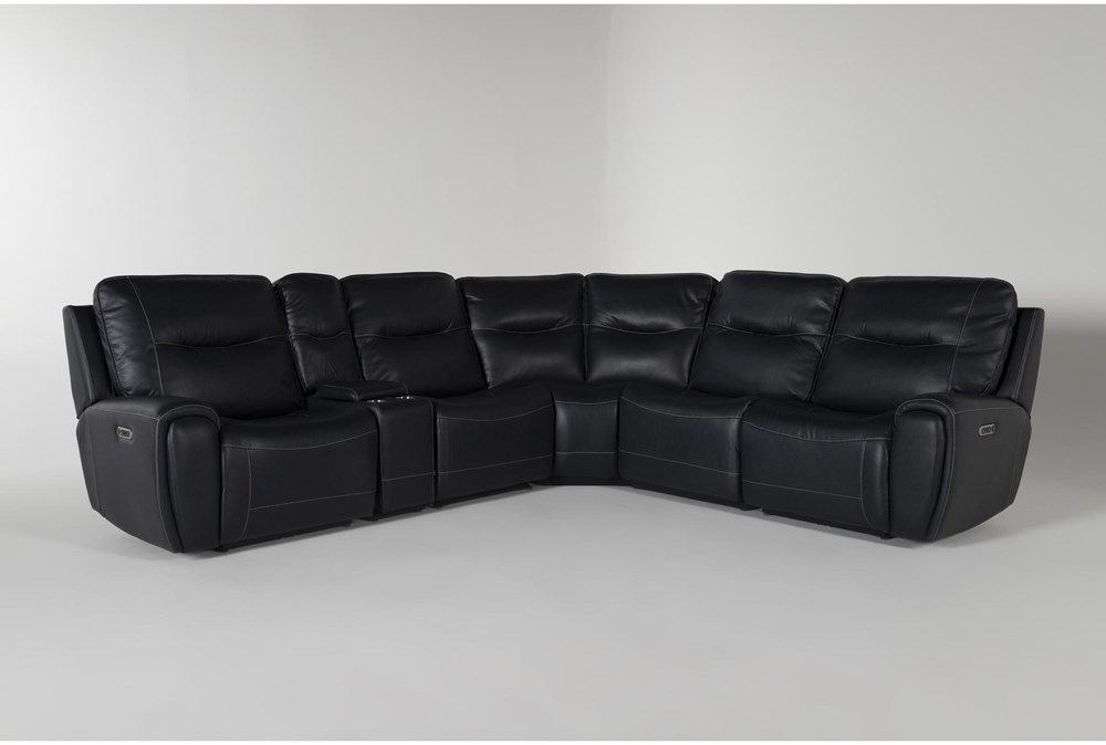 Ciro Navy 6 Piece Power Reclining Sectional With Power Headrest And Usb