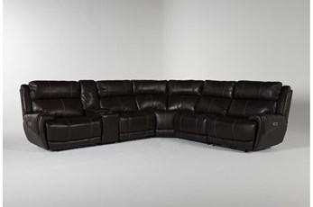 Titus Brown Leather 6 Piece Power Reclining Sectional With Power Headrest And Usb