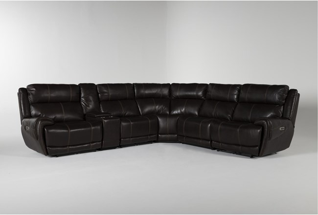 Titus Brown Leather 6 Piece Power Reclining Sectional With Power Headrest And Usb - 360