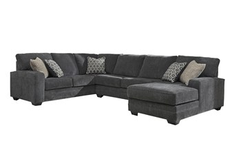 """Tracing Slate 3 Piece 143"""" Sectional With Right Arm Facing Chaise"""