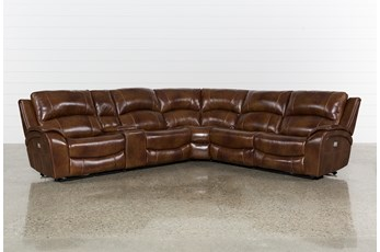"Travis Cognac Leather 6 Piece 135"" Power Reclining Sectional With Power Headrest & USB"