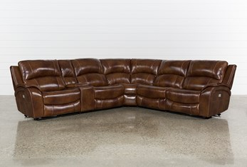 """Travis Cognac Leather 6 Piece 135"""" Power Reclining Sectional With Power Headrest & USB"""