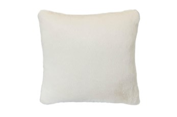 18x18 Accent Pillow-Ivory Plush Faux Fur