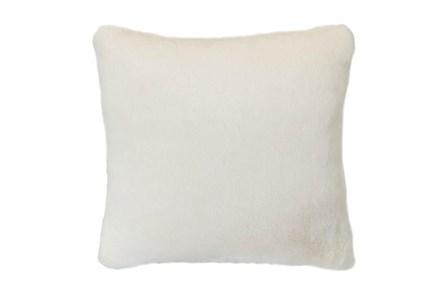 18x18 Accent Pillow-Ivory Plush Faux Fur - Main