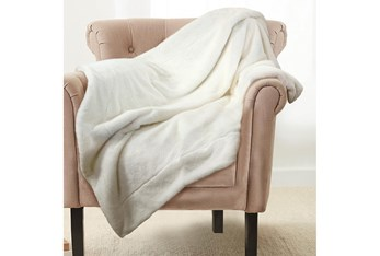 Accent Throw-Ivory Plush Faux Fur
