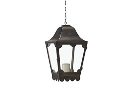 Magnolia Home Glass + Metal Hanging Scallop Lantern By Joanna Gaines