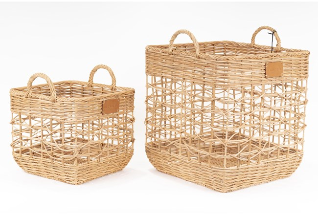 Magnolia Home Agape Basket,S/2 Rattan Square By Joanna Gaines - 360