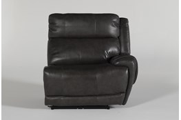 Titus Grey Leather Right Arm Facing Power Recliner With Power Headrest & Usb