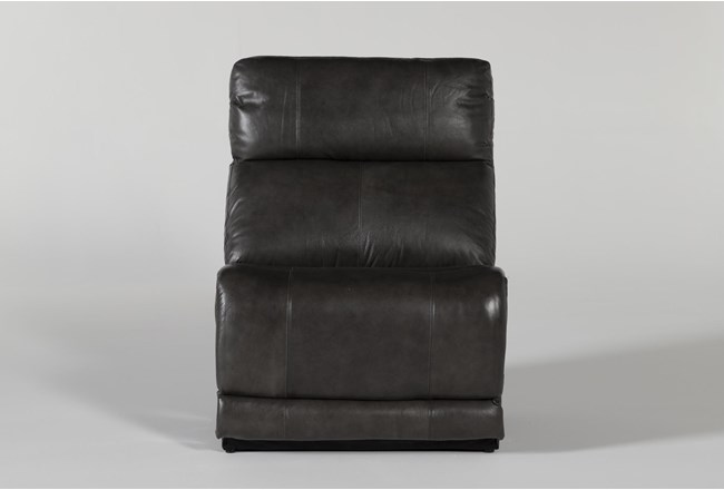 Titus Grey Leather Armless Chair - 360