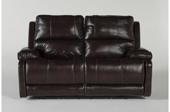 "Teodoro Leather 67"" Reclining Loveseat With Power Headrest"