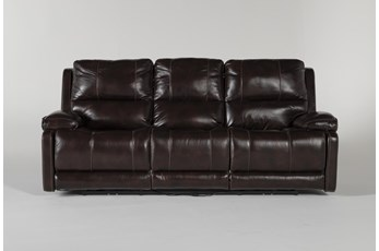 "Teodoro Leather 91"" Reclining Sofa With Power Headrest"