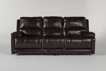 """Teodoro Leather 91"""" Reclining Sofa With Power Headrest"""
