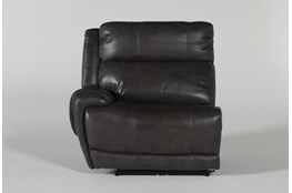 Titus Grey Leather Left Arm Facing Power Recliner With Power Headrest & Usb