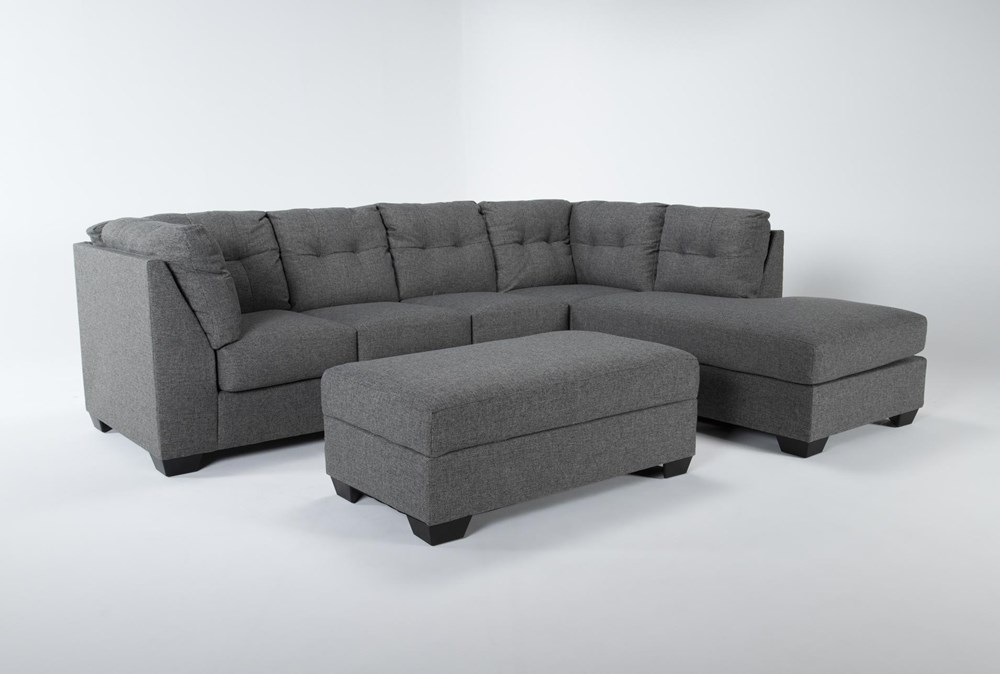 Arrowmask 2 Piece Sectional With Sleeper & Right Arm Facing Chaise and Storage Ottoman