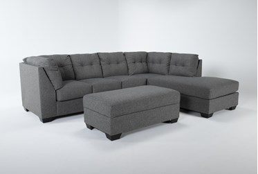 Arrowmask Charcoal 2 Piece Sectional With Sleeper & Right Arm Facing Chaise and Storage Ottoman