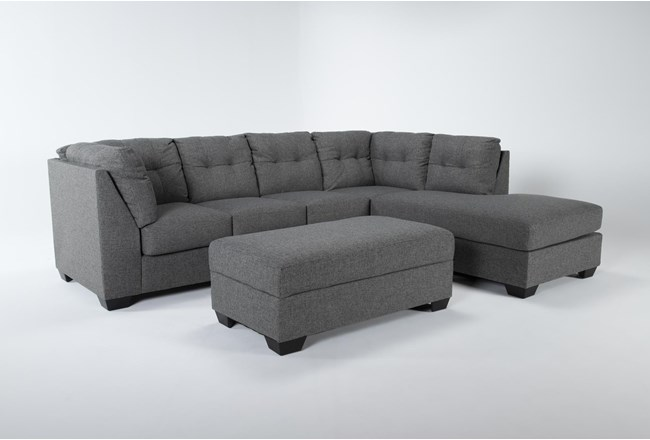 Arrowmask 2 Piece Sectional With Sleeper & Right Arm Facing Chaise and Storage Ottoman - 360
