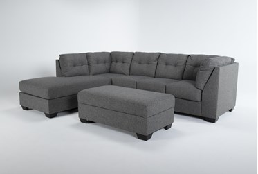 Arrowmask Charcoal 2 Piece Sectional With Sleeper & Left Arm Facing Chaise and Storage Ottoman