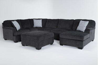 Calvin Slate 3 Piece Sectional with Right Arm Facing Chaise and Storage Ottoman