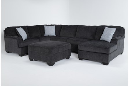 Calvin Slate 3 Piece Sectional with Right Arm Facing Chaise and Storage Ottoman - Main