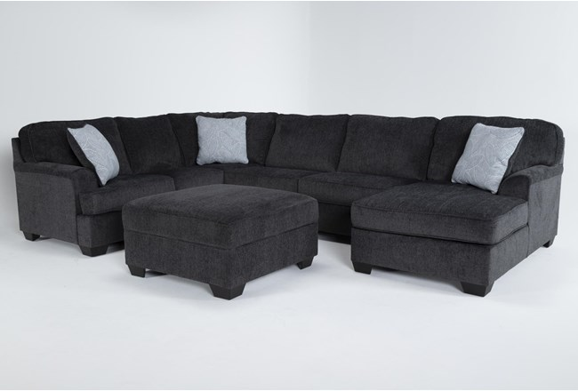 Calvin Slate 3 Piece Sectional with Right Arm Facing Chaise and Storage Ottoman - 360