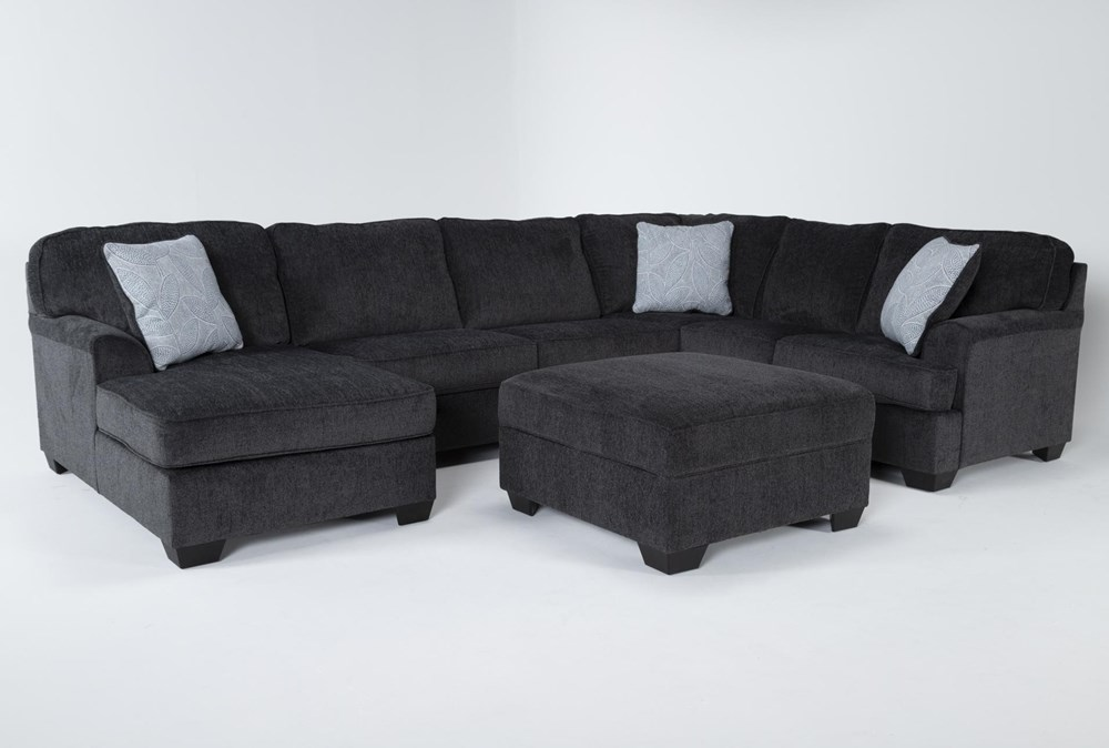 Calvin Slate 3 Piece Sectional with Left Arm Facing Chaise and Storage Ottoman