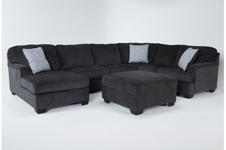 Calvin Slate 3 Piece Sectional with Left Arm Facing Chaise and Storage Ottoman - Main