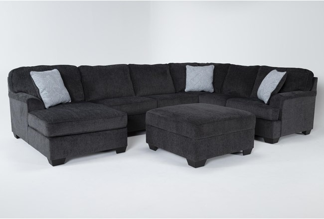 Calvin Slate 3 Piece Sectional with Left Arm Facing Chaise and Storage Ottoman - 360