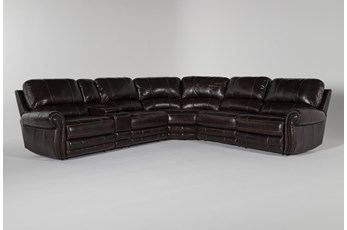 "Howell Leather 6 Piece 161"" Power Reclining Sectional"