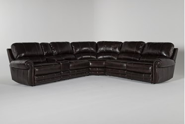 """Howell Leather 6 Piece 161"""" Power Reclining Sectional"""
