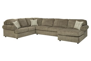 """Hoylake Chocolate 3 Piece 143"""" Sectional With Right Arm Facing Chaise"""