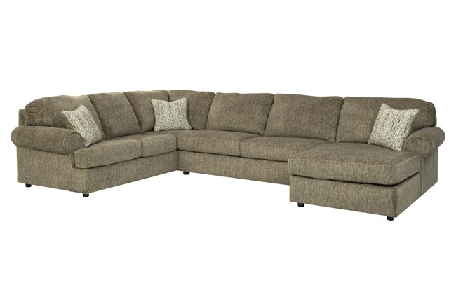 """Hoylake Chocolate 3 Piece 143"""" Sectional With Right Arm Facing Chaise - 360"""