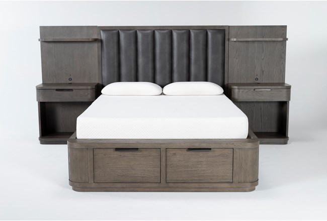 Sean Queen Low Bed With Nightstand Piers - 360