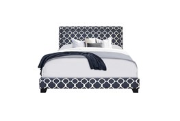 Queen Double Nail Lattice Print Upholstered Bed