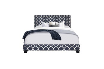 Eastern King Double Nail Lattice Print Upholstered Bed