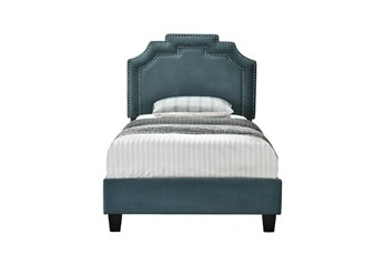 Twin Cleopatra Nail Trim Upholstered Bed-Jasper