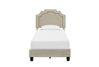 Twin Linen Cleopatra Nail Trim Upholstered Bed