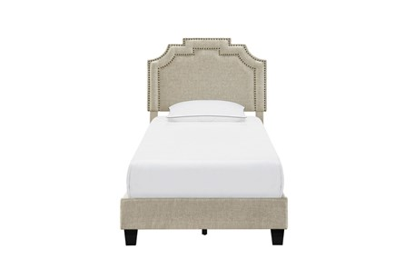 Twin Cleopatra Nail Trim Upholstered Bed-Linen - Main