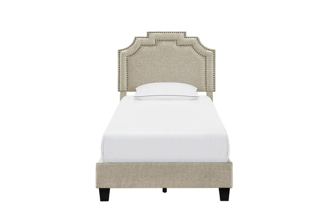 Twin Cleopatra Nail Trim Upholstered Bed-Linen - 360
