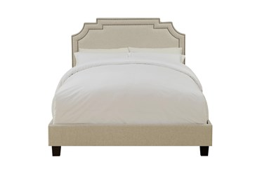 Full Linen Cleopatra Nail Trim Upholstered Bed