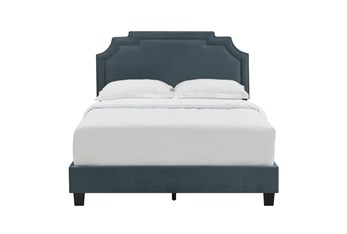Eastern King Jasper Cleopatra Nail Trim Upholstered Bed