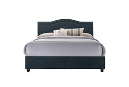 Queen  Upholstered Storage Bed With Usb-Navy