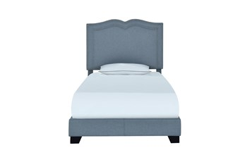 Twin Sweetheart Nail Trim Upholstred Bed-Blue