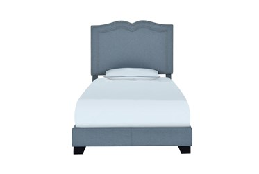 Twin Sweetheart Nail Trim Upholstered Bed-Blue