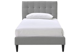 Twin Grid Button Tufted Upholstered Platform Bed-Grey