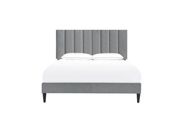 Queen Vertical Channel Upholstered Platform Bed- Slate