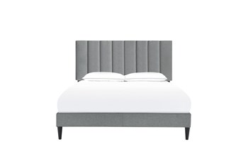 Eastern King Vertical Channel Upholstered Platform Bed- Slate