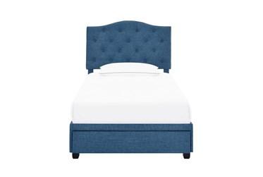 Twin Tufted Camelback Upholstered Storage Bed-Denim
